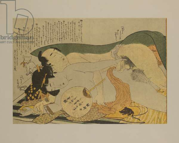 Erotic Couple, Woodblock Print from the Series Picture Book, Patterns of Couples (Ehon tsui no hinagata), 1812