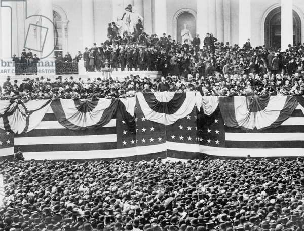 U. S. President Grover Cleveland Inauguration, Capitol Building, Washington DC, USA, Bain News Service, March 4, 1885 (b/w photo)