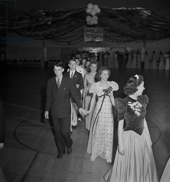 Grand March at Senior Prom Held in Gymnasium of Elementary School in Federal Housing Project, Greenbelt, Maryland, USA, Marjorie Collins for Farm Security Administration, June 1942