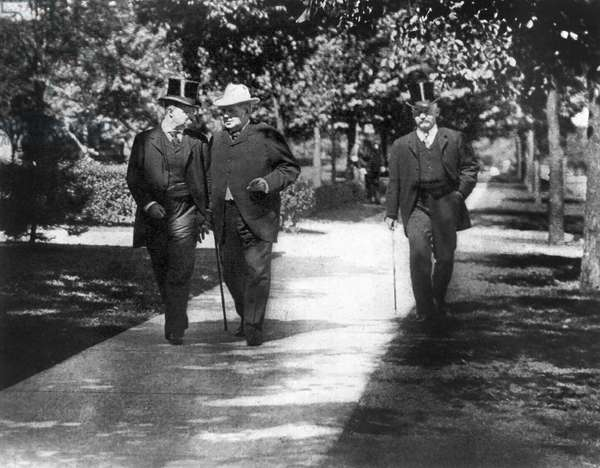 President Roosevelt Conferring with Senator Hanna, on the way to the Milburn house after the death of William McKinley, Buffalo, New York, USA, September 14, 1901 (b/w photo)