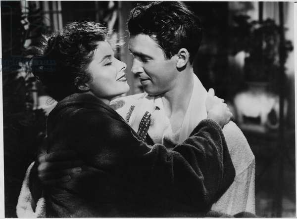 "Katharine Hepburn, James Stewart, on-set of the Film, ""The Philadelphia Story"", 1940 (b/w photo)"