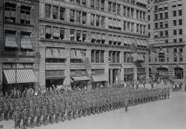 U.S. Army Coast Artillery Members in front of Everett Building, Union Square, New York City, USA, c.1915 (b/w photo)