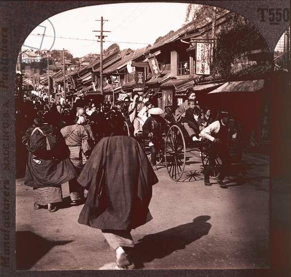 Crowded street scene, Yokohama, Japan, c.1905 (b/w photo)