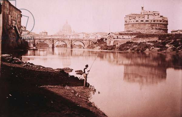 Man Fishing Near Castel Sant'Angelo and Bridge, Rome, Italy, circa 1880