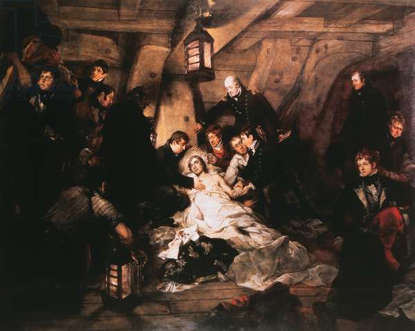 The Fatally Wounded Admiral Horatio Nelson Lies Aboard the HMS Victory, 1805, Painting by Arthur William Devis circa 1807