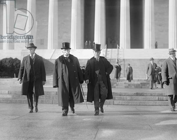 Former French Prime Minister Georges Clemenceau (center) Leaving Lincoln Memorial, Washington DC, USA, 1922 (b/w photo)