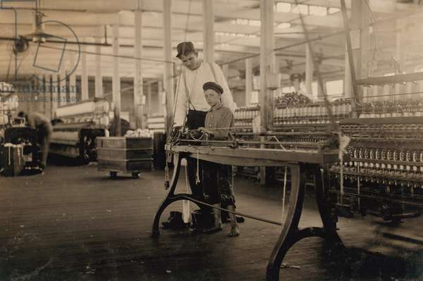 """Young """"Band-Boy"""" and Overseer, Yarn Mill, Yazoo City, Mississippi, USA, circa 1911"""
