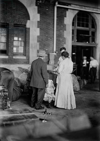 Immigrant Family Arriving at Ellis Island, New York City, New York, USA, Bain News Service, March 1917 (b/w photo)