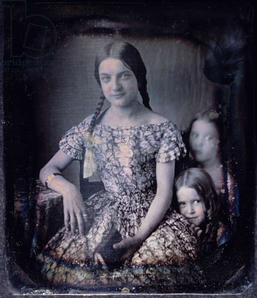 Young Woman With Two Children, Portrait, Daguerreotype, Circa 1850's