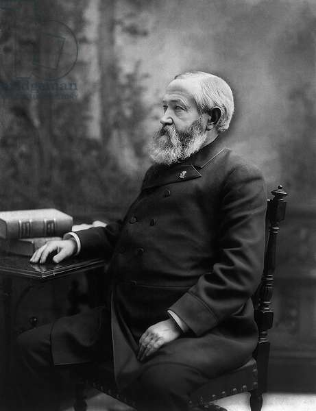 Benjamin Harrison (1833-1901), 23rd President of the United States 1889-93, Seated Profile Portrait, 1888 (b/w photo)