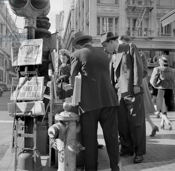Corner of Montgomery and Market Streets, Monday Morning after Japanese Attack on Pearl Harbor, San Francisco, California, USA, John Collier for Office of War Information, December 8, 1941