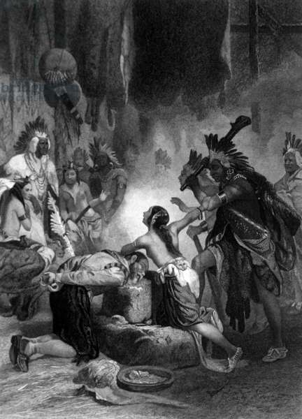 Pocahontas saving the life of Captain John Smith in 1613, 1878 (engraving)