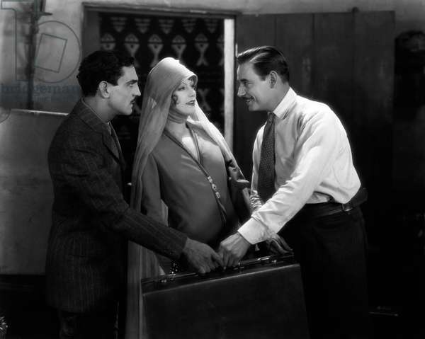 "Francis McDonald, Greta Garbo, Marc McDermott, on-set of the Silent Film ""The Temptress"", 1926"