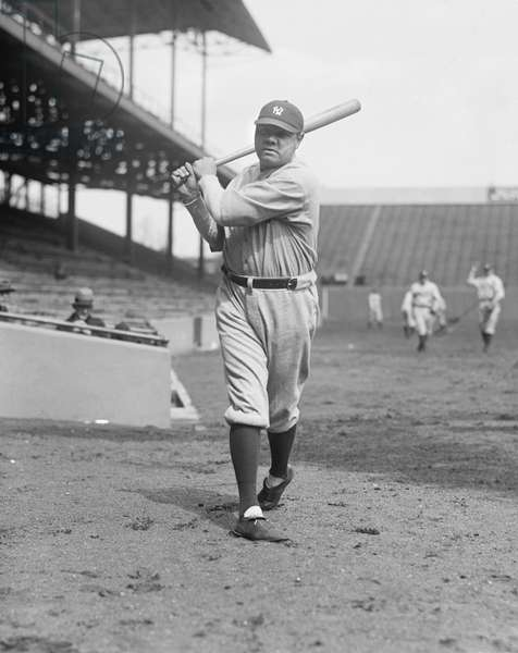 Babe Ruth, Major League Baseball Player, New York Yankees, Portrait, 1924 (b/w photo)