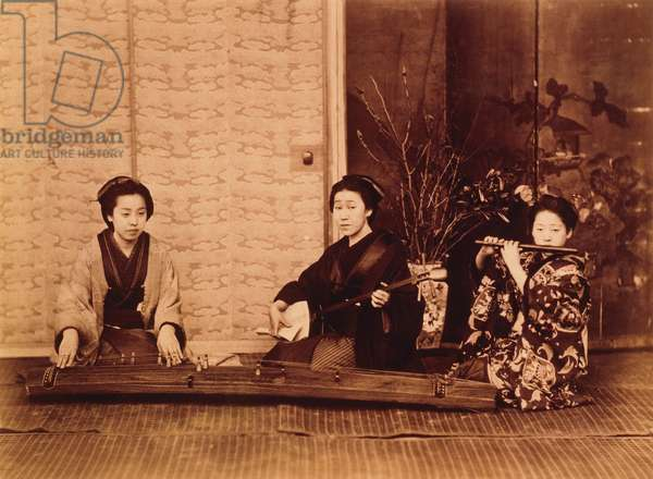 Three Japanese women with musical instruments, c.1880 (hand-coloured photo)