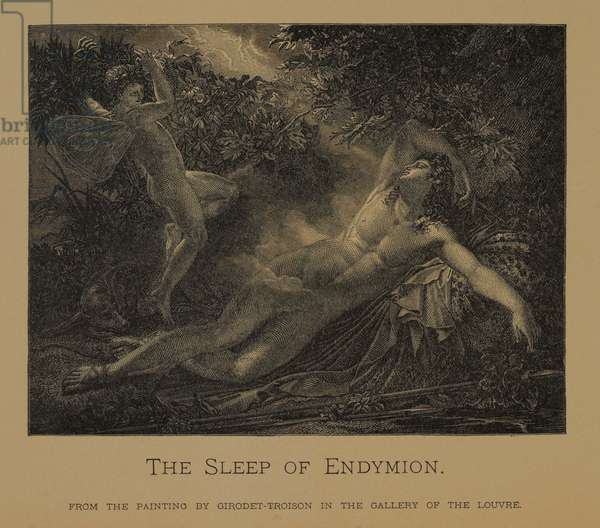 The Sleep of Endymion, from The Masterpieces of French Art by Louis Viardot, Published by Gravure Goupil et Cie, Paris, 1882, Gebbie & Co., Philadelphia, 1883 (woodcut engraving)