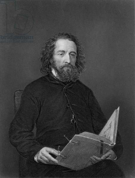 Alfred, Lord Tennyson (1809-92), Noted English Poet, Portrait,  (b/w photo)