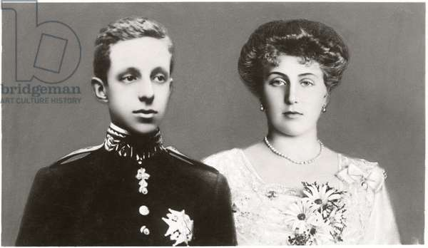 Alfonso XIII, King of Spain and Fiancé, Princess Victoria Eugenie of Battenberg, Postcard, c.1906