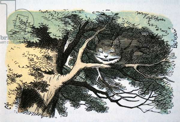 Cheshire Cat, Alice's Adventure in Wonderland by Lewis Carroll, Hand coloured Illustration, c. 1865
