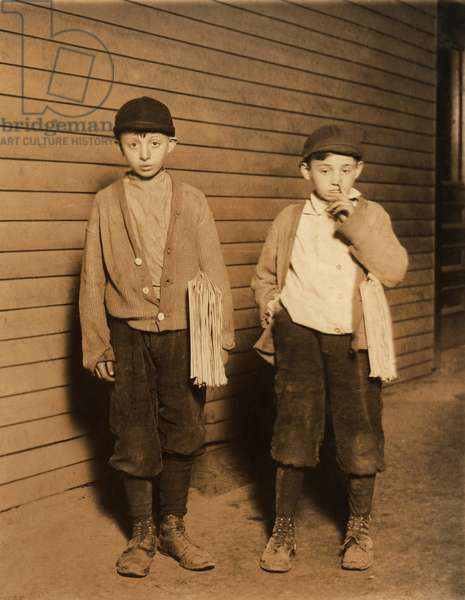 Portrait of Two Brothers, Harry Becker, 12 years, Max Becker, 9 years, Selling Newspapers until 9pm, Lawrence, Massachusetts, USA, circa 1910