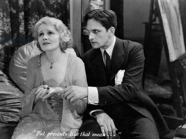 """Jeanne Eagels, Fredric March, on-set of the Film, """"Jealousy"""", 1929"""