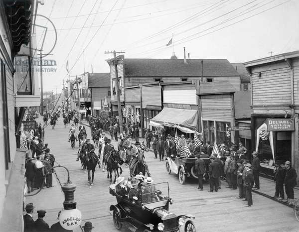 July 4th Parade, Front Street, Nome, Alaska, 1916 (b/w photo)