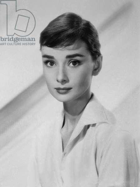 Actress Audrey Hepburn, Publicity Portrait, 1959 (b/w photo)
