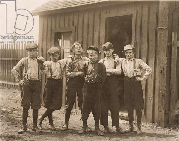 Young Boys on Break at Glass Factory, Saint Louis, Missouri, USA, circa 1910