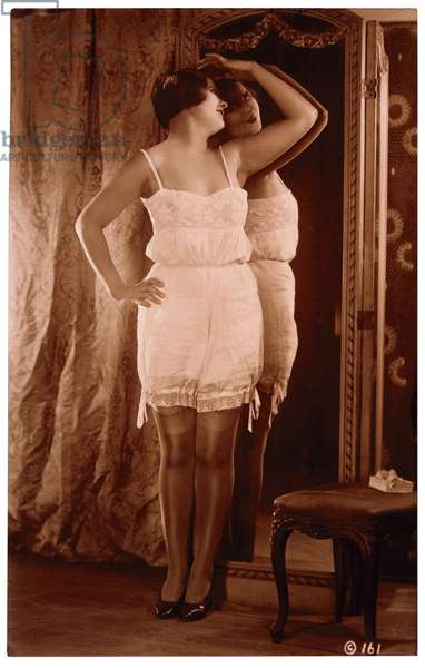 French Lingerie Model Leaning Against Mirror, Circa 1920