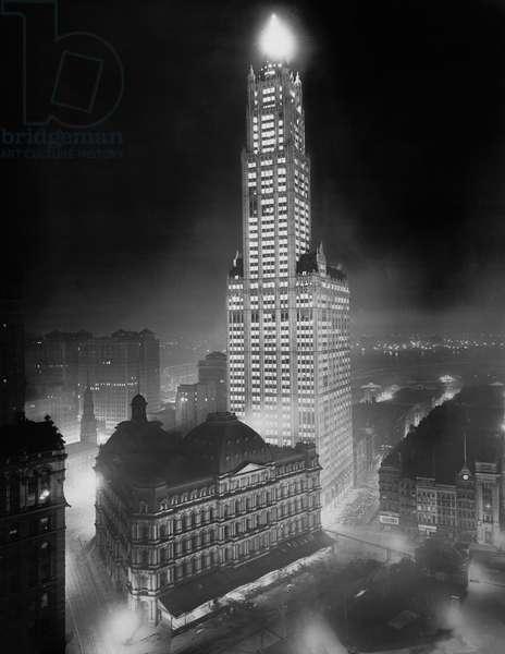 Woolworth Building Illuminated at Night, New York City, New York, USA, Detroit Publishing Company, 1915 (b/w photo)