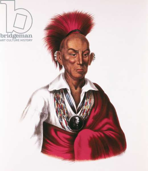 Black Hawk, Makataimeshekiakiah, Sauk and Fox Chief, Leader of Black Hawk War, 1831-32, Painting by Charles Bird King, circa 1837