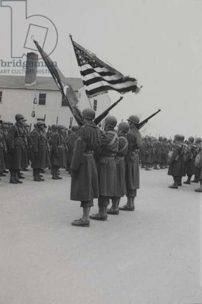 Military Soldiers in Marching Formation during Training Session Outdoor, WWII, HQ 2nd Battalion, 389th Infantry, US Army Military Base, Indiana, USA,  1942
