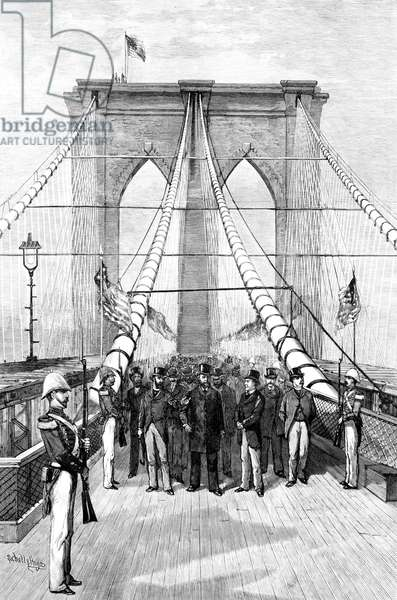The Great Bridge - President Arthur and his Party Crossing the Suspended Highway, drawn by Schell & Hogan, from 'Harper's Weekly', June 2, 1883 (litho)