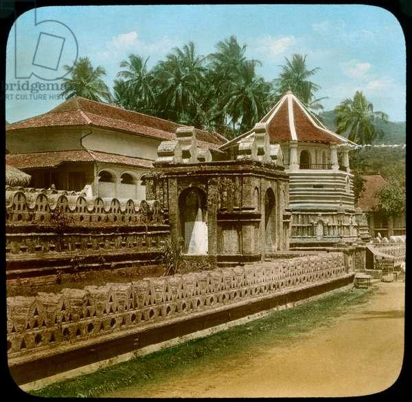 Temple of the Tooth, Kandy, Sri Lanka, Hand-Colored Magic Lantern Slide, Newton & Company, 1900 (photo)