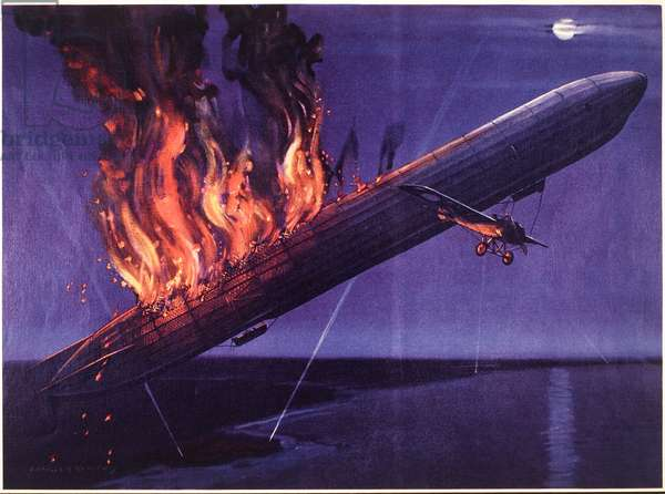 English monoplane destroying a German zeppelin, the first zeppelin to be destroyed, c.1915 (colour litho)