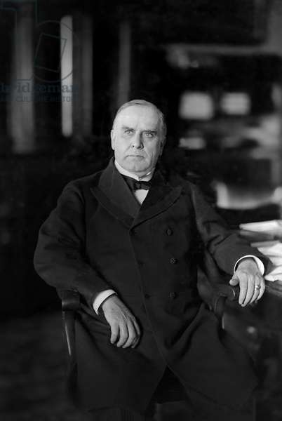 William McKinley (1843-1901), 25th President of the United States 1897-1901, Seated Portrait, 1890's (b/w photo)