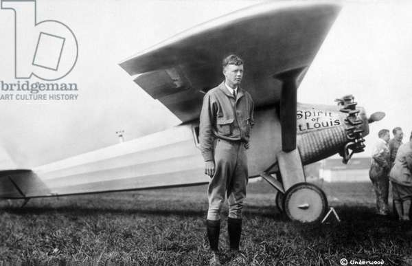 Charles A. Lindbergh with Spirit of St.Louis Airplane, May 1927