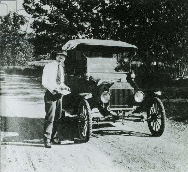 Man Standing Next to Ford Model T Car, Circa 1918