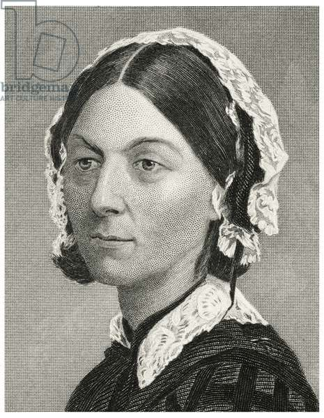 Florence Nightingale (1820-1910), English Nurse, Founder of Modern Nursing, Head and Shoulders Portrait, Steel Engraving, Portrait Gallery of Eminent Men and Women of Europe and America by Evert A. Duyckinck, Published by Henry J. Johnson, Johnson, Wilson & Company, New York, 1873 (print)
