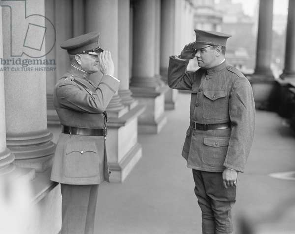 U.S. General John J. Pershing and New York Yankees Baseball Player Babe Ruth, Saluting in Uniform, Washington DC, USA, 1924 (b/w photo)