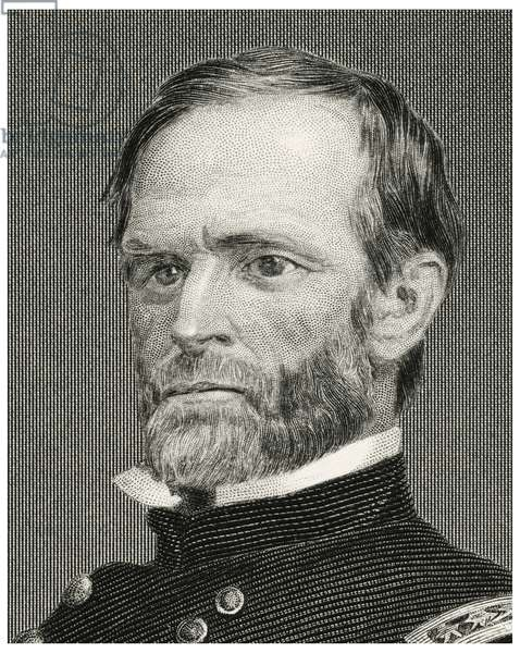 William Tecumseh Sherman (1820-91), Union General During American Civil War, Head and Shoulders Portrait, Steel Engraving, Portrait Gallery of Eminent Men and Women of Europe and America by Evert A. Duyckinck, Published by Henry J. Johnson, Johnson, Wilson & Company, New York, 1873 (print)