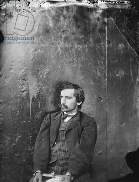 Michael O'Laughlin, Conspirator in Assassination of U.S. President Abraham Lincoln, Seated, Washington Navy Yard, Washington DC, USA, by Alexander Gardner, April 1865 1865 (b/w photo)
