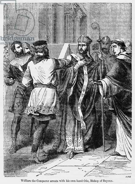 William the Conqueror arrests with his own hand Odo, Bishop of Bayeux, Illustration from John Cassell's Illustrated History of England, Vol. I from the earliest period to the reign of Edward the Fourth, Cassell, Petter and Galpin, 1857 (litho)