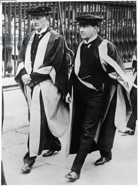 Prime Minister Stanley Baldwin with Viscount Grey after Receiving Honorary Degrees from Cambridge University, England, United Kingdom, June 1923