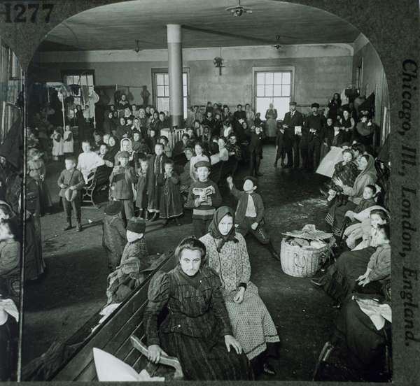 Emigrants Awaiting Examination, Ellis Island, New York, USA,  Circa 1900