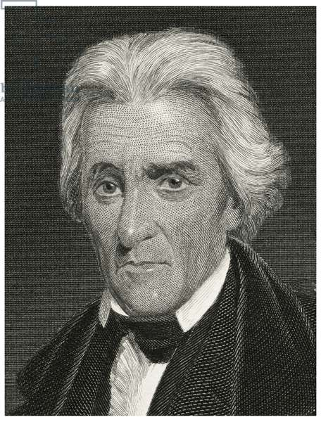 Andrew Jackson (1767-1845), Seventh President of the United States, Head and Shoulders Portrait, Steel Engraving, Portrait Gallery of Eminent Men and Women of Europe and America by Evert A. Duyckinck, Published by Henry J. Johnson, Johnson, Wilson & Company, New York, 1873 (print)