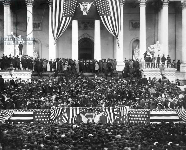 Crowd Gathered for U.S. President Grover Cleveland's Second Inauguration, U.S. Capitol, Washington, DC, USA, Brady-Handy Collection, March 4, 1893 (b/w photo)