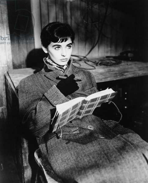 Millie Perkins, on set of the film 'The Diary of Anne Frank', 1959 (b/w photo)