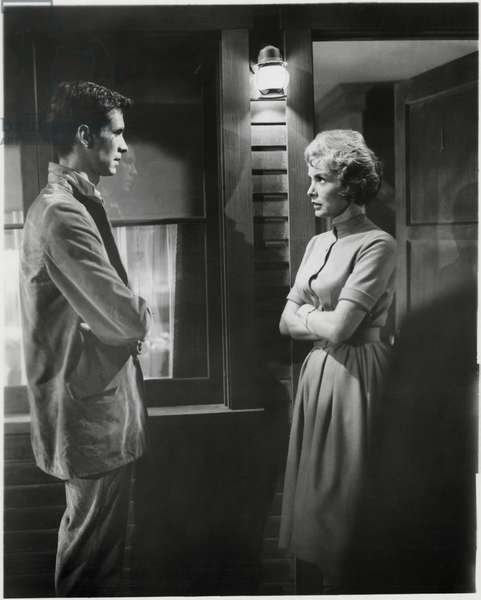Anthony Perkins, Janet Leigh, on-set of the Film,