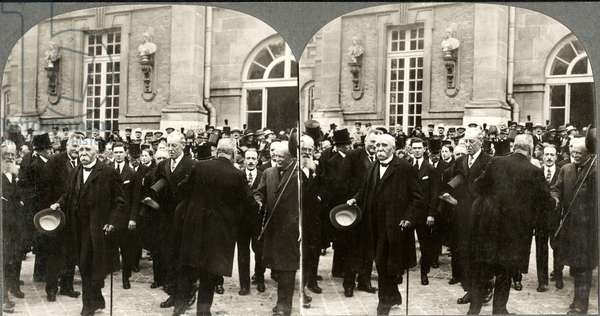 Georges Clemenceau, Woodrow Wilson, & David Lloyd George, Leaving Palace of Versailles during Peace Treaty, Stereo Card, June 28, 1919